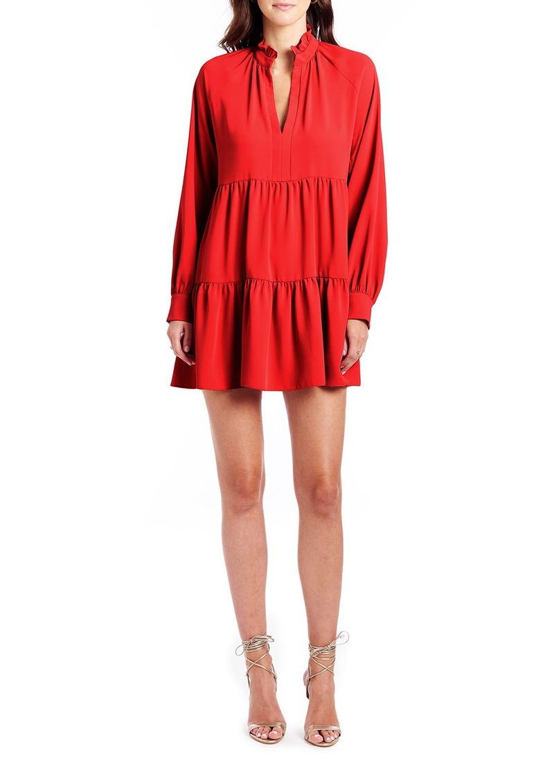 Amanda Uprichard Saffron Tiered Long-Sleeve Mini Dress