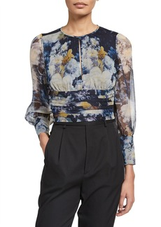Amanda Uprichard Samira Floral Cropped Pintuck Top