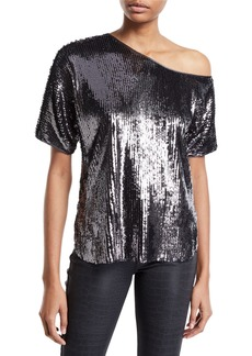 Amanda Uprichard Scotty Sequined One-Shoulder Top