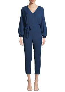 Amanda Uprichard Soraya Belted Long-Sleeve Cropped Jumpsuit