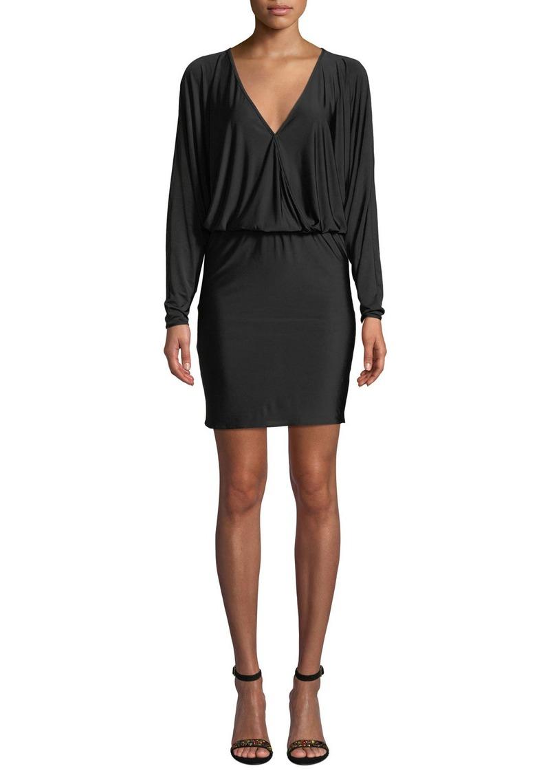 Amanda Uprichard Thomas Long-Sleeve V-Neck Short Dress