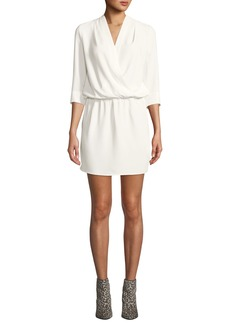 Amanda Uprichard Venus Draped 3/4-Sleeve Mini Dress