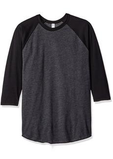 American Apparel Men's Poly-Cotton 3/4 Sleeve Raglan Shirt  arge