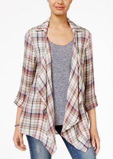 American Rag Crochet-Back Plaid Shirt Jacket, Only at Macy's