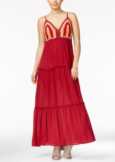 American Rag Crochet-Front Ruffled Maxi Dress, Only at Macy's
