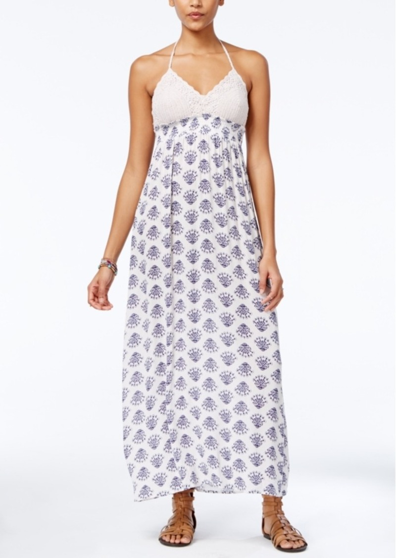American Rag Crochet Printed Halter Maxi Dress, Created for Macy's