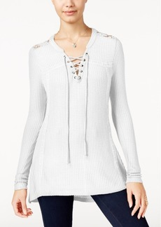 American Rag Crochet-Trim Lace-Up Waffle-Knit Top, Only at Macy's