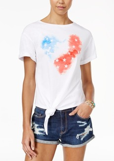 American Rag Juniors' American Flag Heart Knotted Graphic T-Shirt, Created for Macy's