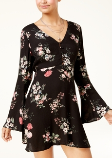 American Rag Juniors' Bell-Sleeve Floral-Print Dress, Created for Macy's
