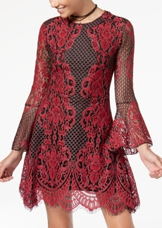 American Rag Juniors' Bell-Sleeve Lace Fit & Flare Dress, Created for Macy's