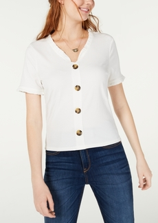 American Rag Juniors' Button-Trimmed Ruffle Top, Created for Macy's