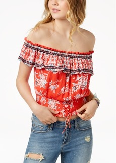 American Rag Juniors' Cotton Smocked Off-The-Shoulder Top, Created for Macy's