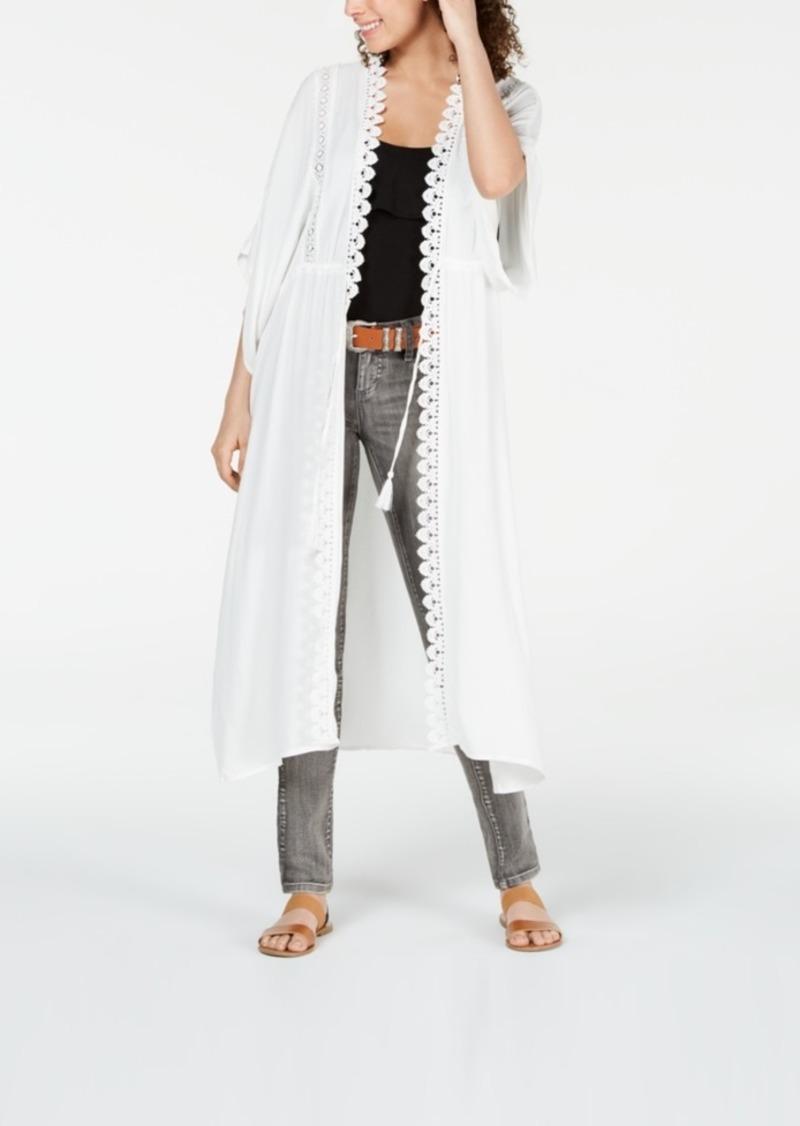 American Rag Juniors' Crochet-Trimmed Long Kimono, Created for Macy's