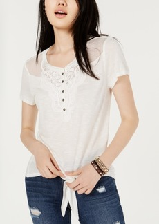 American Rag Juniors' Crochet-Trimmed Tie-Front T-Shirt, Created for Macy's