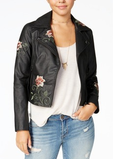 American Rag Juniors' Embroidered Faux-Leather Moto Jacket, Created for Macy's