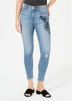 American Rag Juniors' Embroidered Ripped Skinny Ankle Jeans, Created for Macy's