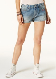 American Rag Juniors' Embroidered Verbiage Denim Shorts, Created for Macy's
