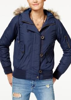 American Rag Juniors' Faux-Fur-Trim Bomber Jacket, Created for Macy's