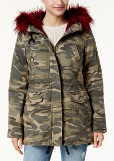 American Rag Juniors' Faux-Fur-Trim Camo Parka, Created for Macy's