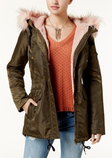 American Rag Juniors' Faux-Fur-Trim Hooded Parka, Created for Macy's