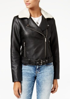 American Rag Juniors' Faux-Sherpa-Collar Faux-Leather Moto Jacket, Created for Macy's