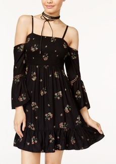 American Rag Juniors' Floral-Embroidered Fit & Flare Dress, Only at Macy's