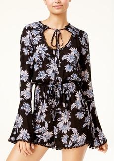 American Rag Juniors' Floral-Print Bell-Sleeve Romper, Created for Macy's