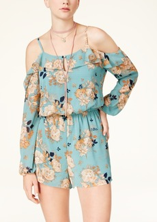 American Rag Juniors' Floral-Print Cold-Shoulder Romper, Created for Macy's