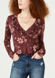 American Rag Juniors' Floral-Print Ruffled Top, Created for Macy's