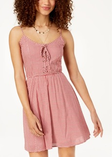 American Rag Juniors' Gingham Corset Lace-Up Dress, Created for Macy's