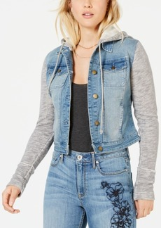 American Rag Juniors' Knit & Denim Hooded Jacket, Created for Macy's