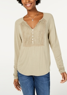 American Rag Juniors' Lace-Bib Top, Created for Macy's