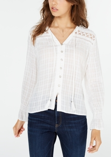 American Rag Juniors' Lace-Inset Top, Created for Macy's