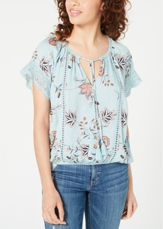 American Rag Juniors' Lace-Mix Peasant Top, Created for Macy's