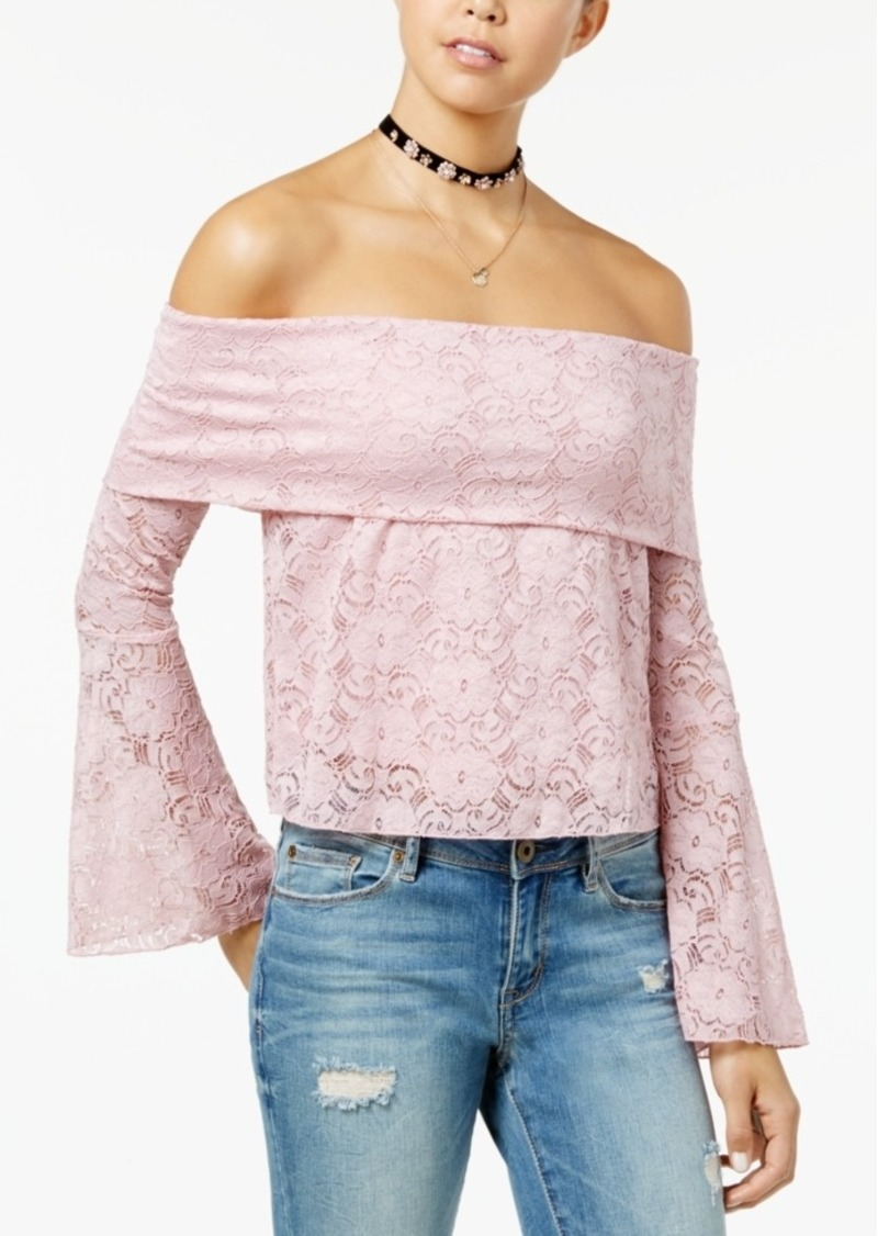 a102983bbbcf2d American Rag Juniors' Lace Off-The-Shopulder Crop Top, Created for Macy's