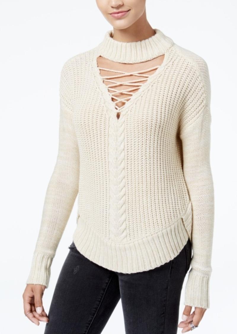 American Rag American Rag Juniors  Lace-Up Choker Sweater 20d38e0b9