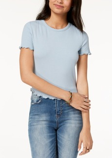 American Rag Juniors' Lettuce-Edge Lace-Up Crop Top, Created for Macy's