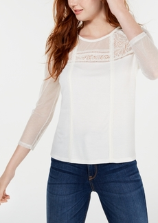 American Rag Juniors' Long-Sleeve Mixed-Media Top, Created for Macy's