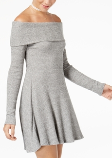 American Rag Juniors' Off-The-Shoulder Rib-Knit Sweater Dress, Created for Macy's