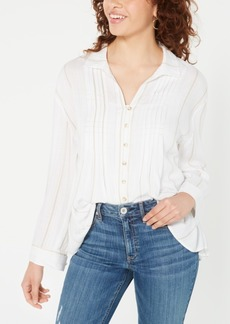 American Rag Juniors' Pin-Tucked Tie-Back Shirt, Created for Macy's