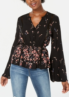American Rag Juniors' Printed Bell-Sleeve Blouse, Created for Macy's