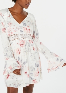 American Rag Juniors' Printed Bell-Sleeve Dress, Created for Macy's