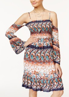 American Rag Juniors' Printed Cold-Shoulder Dress, Created for Macy's
