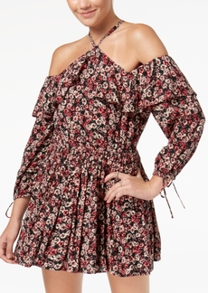 American Rag Juniors' Printed Cold-Shoulder Peasant Dress, Created for Macy's