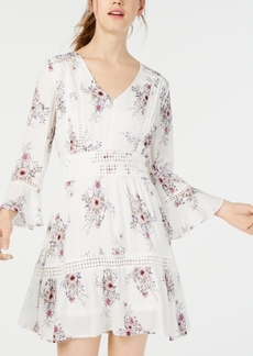 American Rag Juniors' Printed Crochet-Trimmed Dress, Created for Macy's