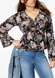 American Rag Juniors' Printed Flare-Sleeved Cropped Blouse, Created for Macy's
