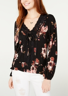 American Rag Juniors' Printed Lace-Trimmed Lace-Up Top, Created for Macy's