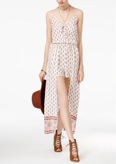 American Rag Juniors' Printed Lace-Up Maxi-Overlay Romper, Only at Macy's
