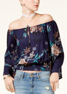 American Rag Juniors' Printed Off-The-Shoulder Crop Top, Created for Macy's