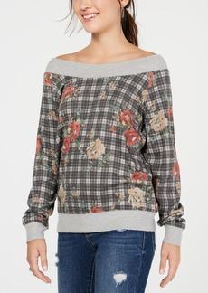 American Rag Juniors' Printed Off-The-Shoulder Sweatshirt, Created for Macy's